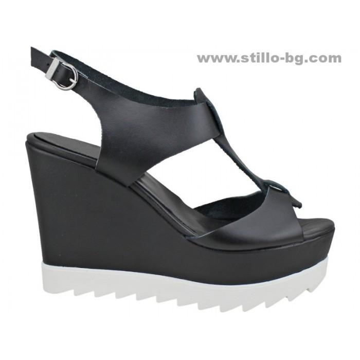 Арт. 24794 - Черни сандали с платформа от естествена кожа