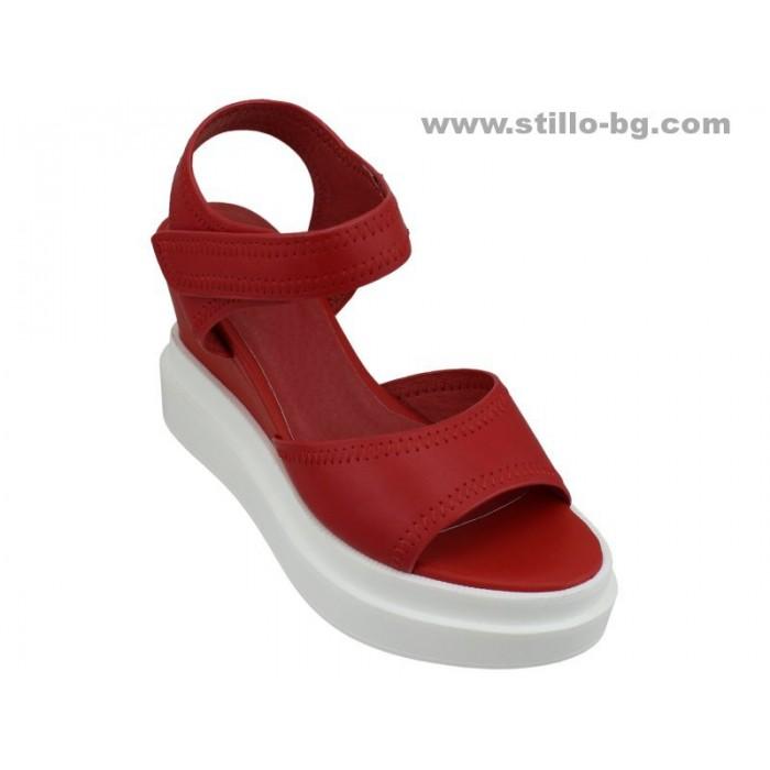 Арт. 24809 - Червени сандали с платформа от естествена кожа
