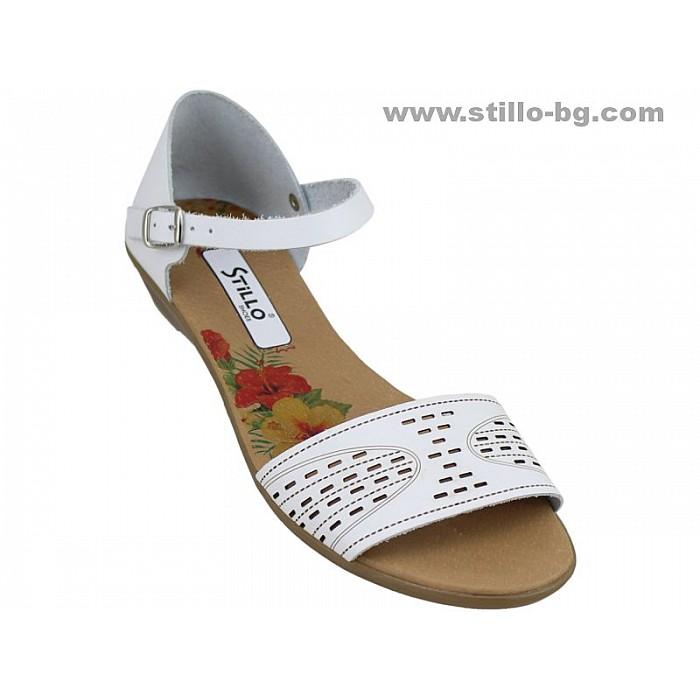 24747 - Ежедневни дамски сандали от естествена бяла кожа