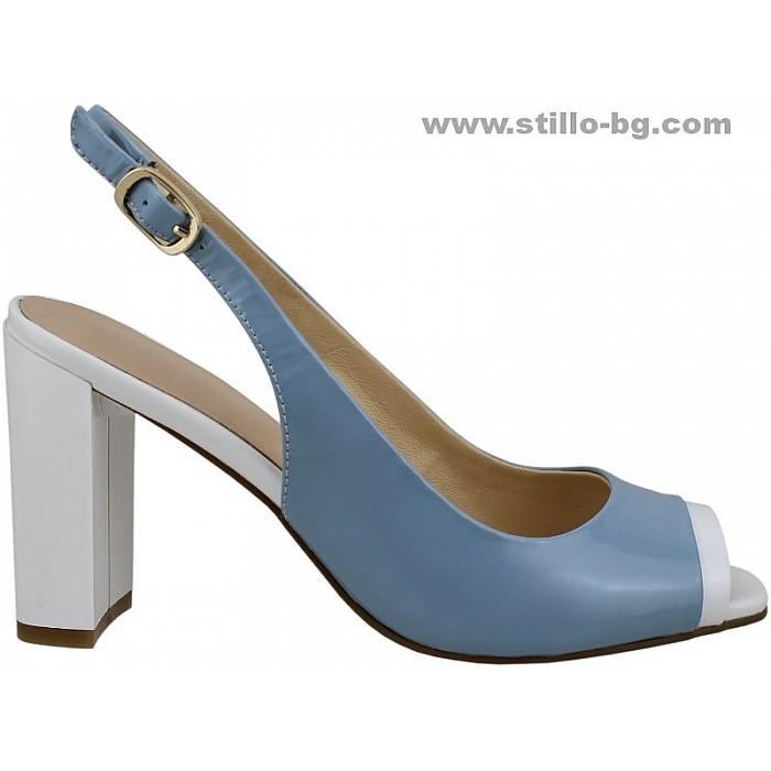 24779 - Дамски сандали от син и бял лак с висок дебел ток