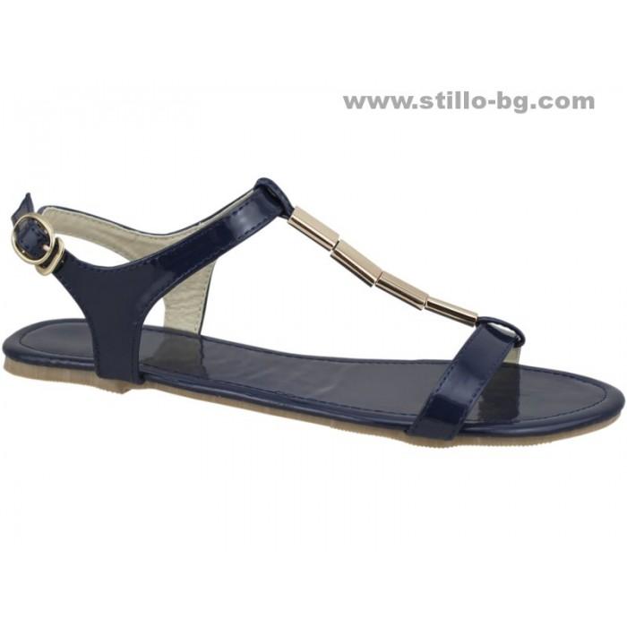 24818 - Равни сандали от син лак със златна верижка
