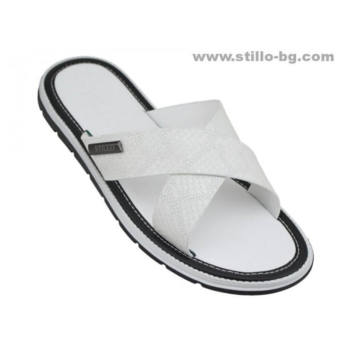24832 - Бели мъжки чехли от естествена кожа
