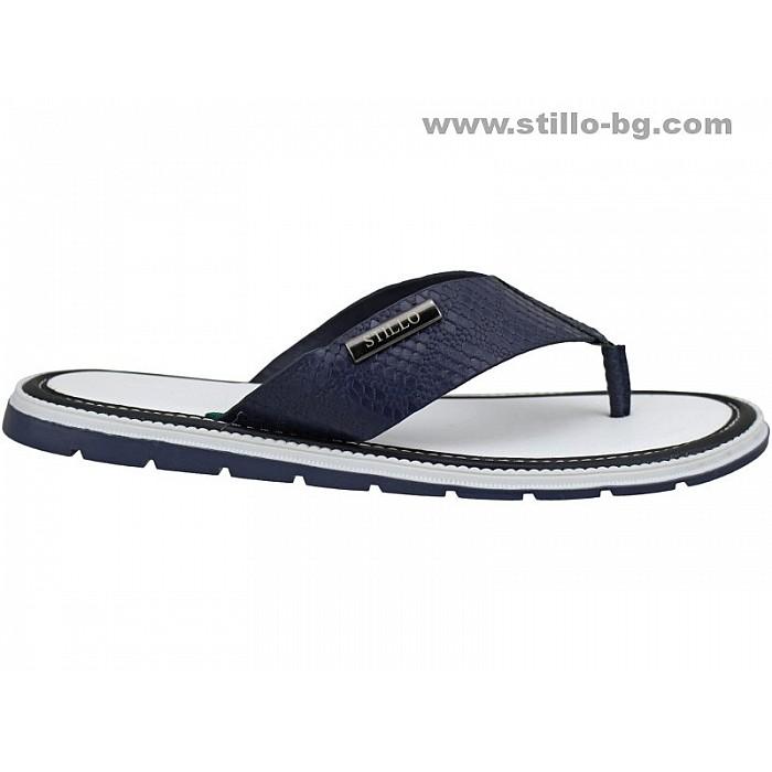 24833 - Мъжки чехли от естествена кожа в синьо и бяло