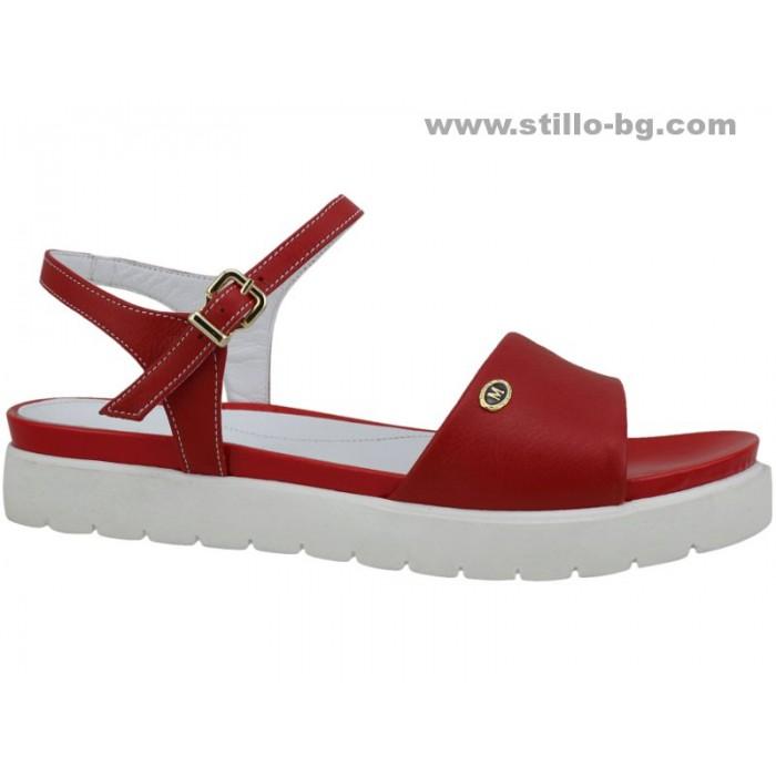 24735 - Дамски сандали с дебела подметка от червена кожа