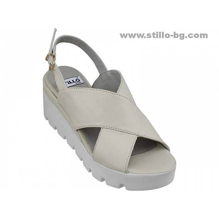 24868 - Сандали на платформа от естествена бежова кожа