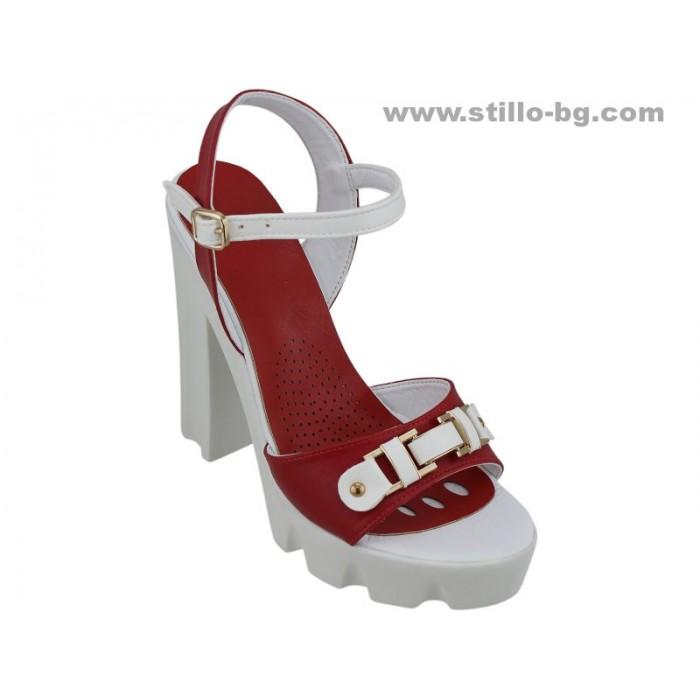 24873 - Сандали с висок ток и платформа в червено и бяло