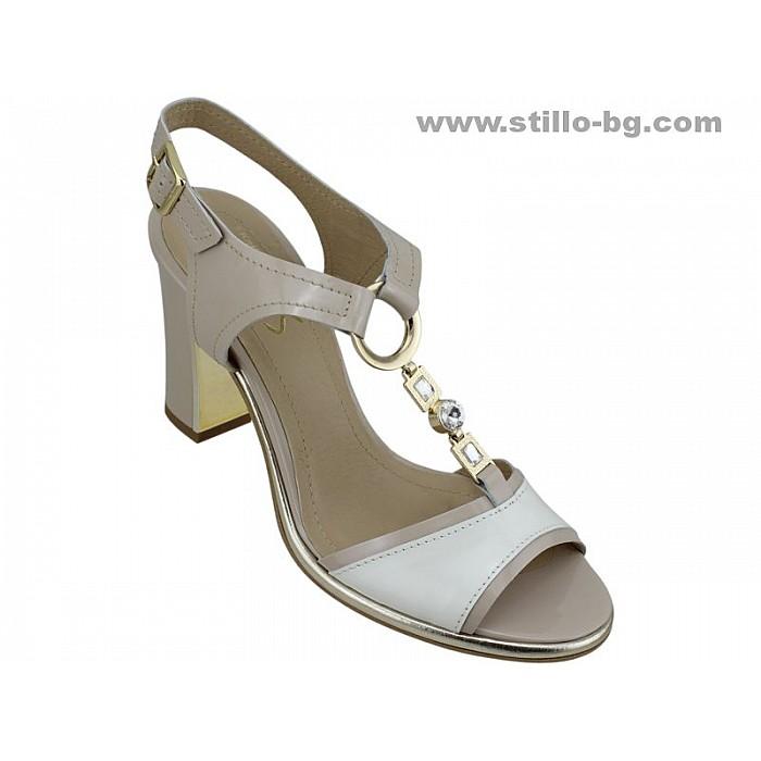 24855 - Дамски сандали от естествен лак в бежово и сиво