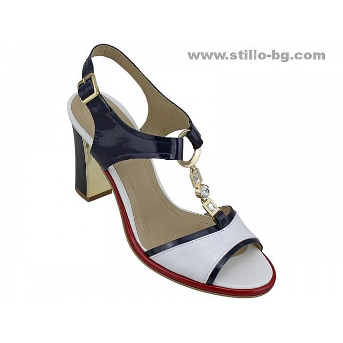 24861 - Дамски сандали на висок ток от естествен лак