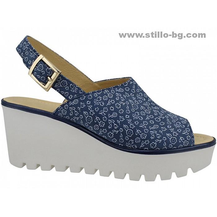 24856 - Дамски сандали на платформа от естествена кожа