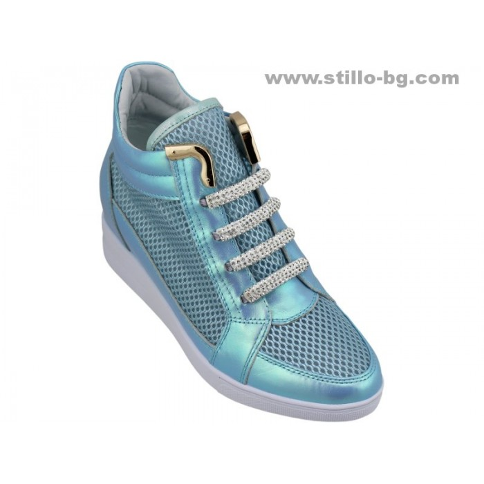 24905 - Спортни дамски обувки от естествена кожа и мрежа