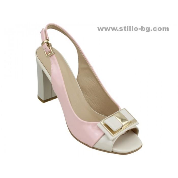 20762 - Дамски сандали на висок ток от розов и бежов лак