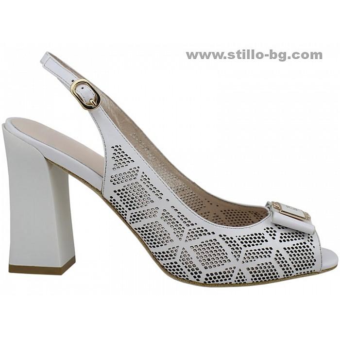 22536 - Бели сандали на висок широк ток от естествена кожа