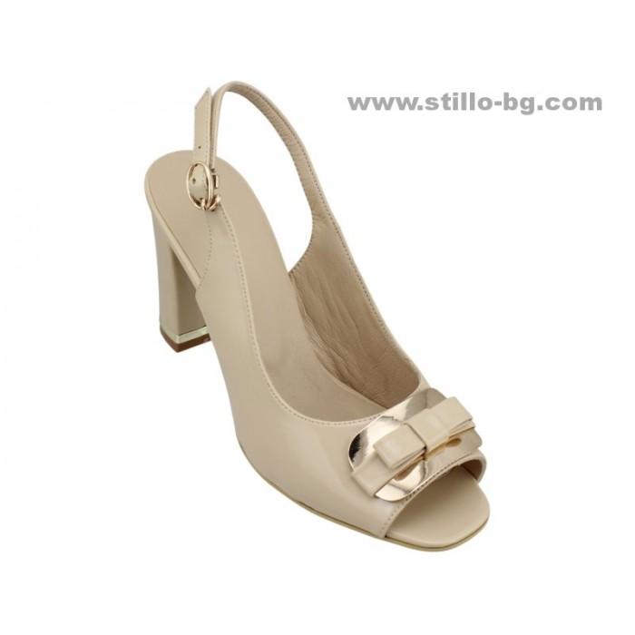 22896 - Дамски сандали с висок широк ток от бежов лак