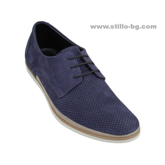 24881 - Спортно елегантни обувки от естествен син набук