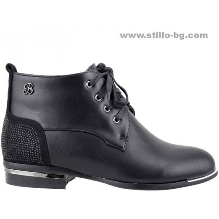 d3d55c06b1a Stillo магазини за обувки, 25223 - Черни дамски боти с връзки и ...