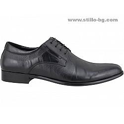25228 - Елегантни мъжки обувки от черна кожа с щампа