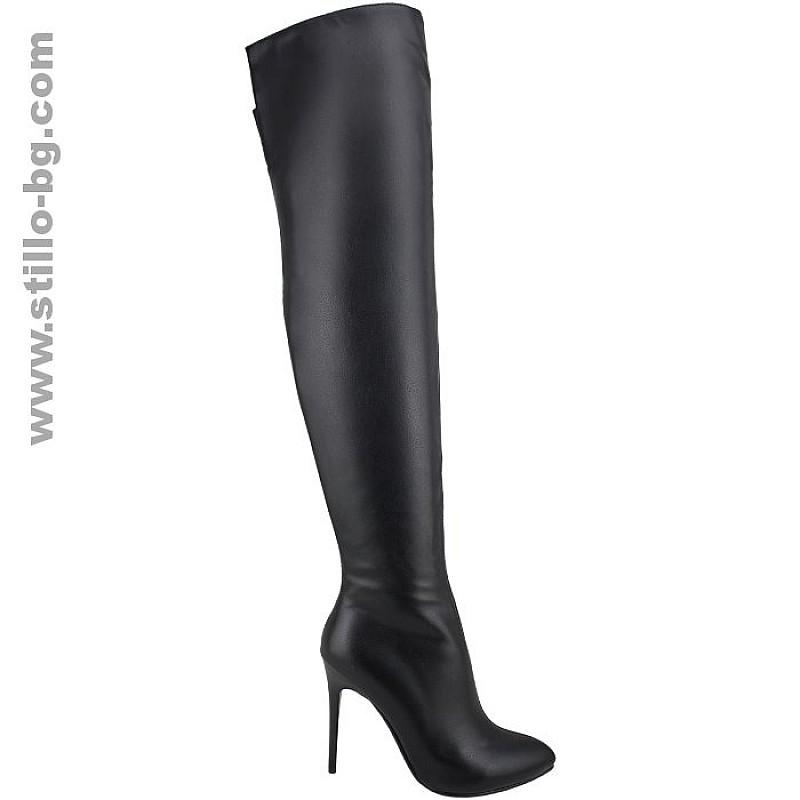 25496 - Елегантни дамски ботуши над коляното от черна кожа