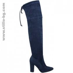 25775 - Дамски ботуши над коляното от син велур - стреч