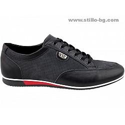 25903 - Спортни обувки от черна кожа с декоративна перфорация