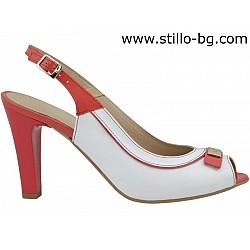 Елегантни сандали с висок ток от естествен лак - 26788