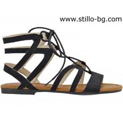 Равни дамски сандали с връзки - 27039