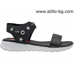 Дамски сандали от черна кожа и стреч - 27053