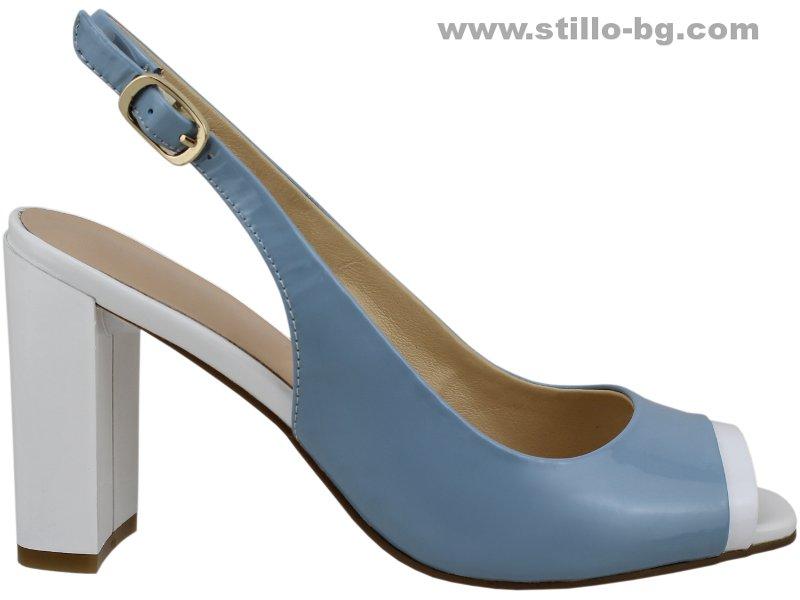 35d00b44742 Купи 24779 - Дамски сандали от син и бял лак с висок дебел ток на ...
